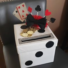 Casino, card box for son's Casino themed birthday party. Dice You are in the right place about Las Vegas Party, Vegas Theme, Casino Night Party, Casino Party Decorations, Casino Theme Parties, Party Centerpieces, Themed Parties, Fète Casino, Casino Royale