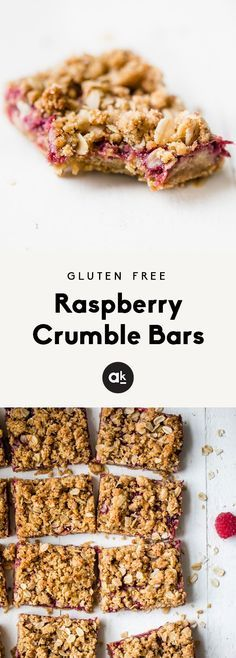 Healthy, gluten free fresh raspberry crumble bars made with a fresh raspberry jam. This healthy dessert is easy to make, and perfect for using up your summer raspberries! #glutenfree #dessert #dessertrecipes #4thofjuly #raspberry #healthyrecipes #partyfoo