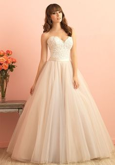 This romantic ballgown is born from soft lace and English net, paired together by a soft satin waistband.