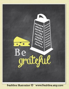 Be Grateful Cheese Grater Chalkboard Inspired Art by Freshline, $18.00