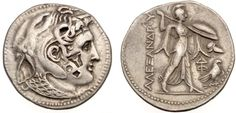 Tetradrachm of Kingdom of Egypt with head of deified Alexander the Great, struck under Ptolemy I    Head of Alexander the Great, with horn of Ammon, diademed and wearing elephant's skin and aegis. Border of dots. Three chopmarks on cheek. Greek letter delta on aegis. /Athena , shield on left arm and spear in raised right hand. At right, Corinthian helmet and eagle on thunderbolt. Ground line; border of dots. Inscription in Greek in left field, upwards and monogram in right field.