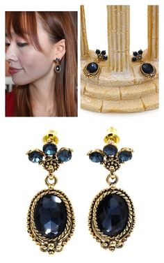 """Classic style blue crystal pendant golden earrings"" by oceanfashion on Polyvore"