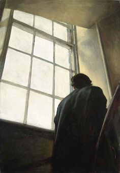 Stephen Conroy (b. Man on Stairs signed and dated 'Stephen Conroy (on the canvas overlap) oil on canvas 78 x 54 in. x cm. Through The Window, Figurative Art, Art Inspo, Oil On Canvas, Contemporary Art, Art Photography, Illustration Art, Stairs, Street Art