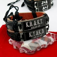 Custom Leather Bracelet  Personalized by newyorkcustommade on Etsy