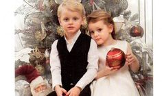 MONACO's Princess Gabriella, four and twin brother Princes Jacques stole the show as the adorable youngster stole the show after in the Monaco royal family's official Christmas card portraits.