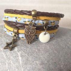 Bracelet liberty, cuir et suédine jaune, bleu et noir