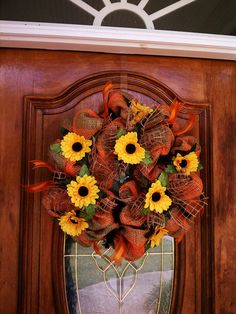 Late Summer Sunflowers and Burlap Mesh Wreath. $45.00, via Etsy.