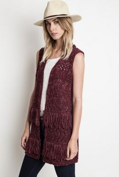'Best Fringes Forever' Vest - We know when you meet this fringe vest, you'll be best friends forever! With its crochet detailing, its the perfect layer for the fall season. This vest has two layers of fringe and a two-tone color vibe. We love wearing it with jeans and a tee to give a plain outfit an extra punch of the New American style. Wear it thru the fall with long sleeves and with shorts in the springtime. It's a layer that always works. Available in Burgundy.  65% Cotton and 35%…