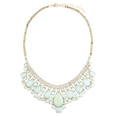 Add a pop of style to evening ensembles and work outfits alike with this stunning gold-plated necklace, showcasing a cascading bib of faceted mint green bead...