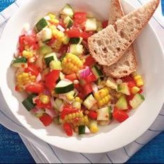 Confetti Summer Salad: corn, zuchinni, tomatoes, scallions, bell peppers + italian dressing