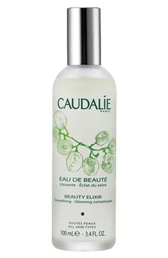 CAUDALÍE Beauty Elixir - For all skin lacking radiance. Beauty Elixir is an exceptional anti-dullness complexion treatment, cleanser and brightener, and also a wonderful after-shave for men.  Active ingredients: extracts of grape, essential oil of rosemary, orange blossom and rose extracts, benzoin, myrrh, essential oils of organic balm mint and mint.
