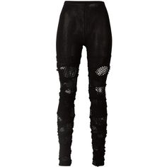 Junya Watanabe Comme Des distressed leggings ($650) ❤ liked on Polyvore featuring pants, leggings, black, torn leggings, ripped leggings, destroyed leggings, distressed leggings and distressed pants
