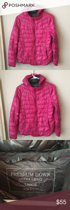 Down feather pink uniqlo jacket Great condition. The jacket fits inside to bag shown for easy transportation. Very warm. It's a Japanese large. So I'd say it would fit medium. Uniqlo Jackets & Coats Puffers