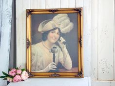 Large Ornate Gold Vintage Frame with Decorative Art, Art Print of Lady with Telephone French Cottage Decor, Shabby Chic Cottage, Frame Gallery, Hanging Pictures, Vintage Frames, Telephone, Art Art, Art Decor, Picture Frames
