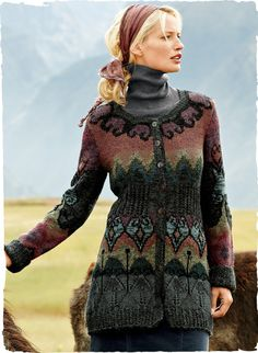 Our storybook art knit traces a fanciful grillwork on a backdrop of heathery alpaca hues, from terra cotta to moss, olive, mauve and teal. Intarsia knit in a long, lean silhouette, with scalloped neckline and pointelle.