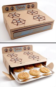 Cookies packaged inside of a cardboard stove by Saturday Mfg.