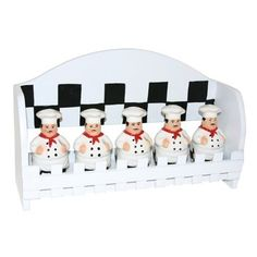 Italian Bistro Chef 5PC SPICE RACK MOUNTED WALL decor | eBay