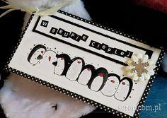 Zimowa zawieszka na prezent do kompletu z termoforem-pingwinem. Użyte produkty Latarnia Morska: czarny tusz pigmentowy, papierowy kwiatek, ćwiek śnieżynka, papier kolekcji Zauroczenie. Winter Ideas, Pigment Ink, Scrapbooking, Stamp, Christmas, Cards, Xmas, Stamps, Navidad