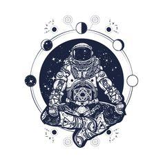 Astronaut in the lotus position tattoo art. Symbol of meditation, harmony, yoga. Astronaut and Universe t-shirt design. Spaceman silhouette sitting in lotus pose of yoga tattoo vibrant solar system Tattoos Arm Mann, Yoga Tattoos, Guy Tattoos, Mann Tattoo, Spine Tattoos, Astronaut Tattoo, Retro Tattoos, Kunst Tattoos, Bild Tattoos