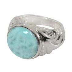 Genuine Rare Larimar gemstone Vintage style Setting Handmade 925 Sterling Silver Plated Ring Jewelry USA 86