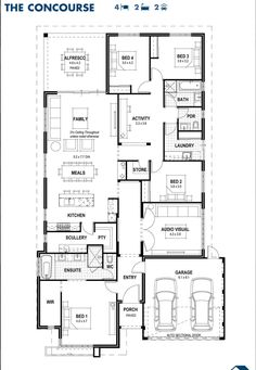 The Concourse floorplan Extend activity room right. Condense bathroom to fit lengthwise. Also would wrap the verandah along the length of the kitchen and family area too. 6 Bedroom House Plans, New House Plans, Dream House Plans, House Floor Plans, Modular Floor Plans, Home Design Floor Plans, Plan Design, Dream House Exterior, Display Homes