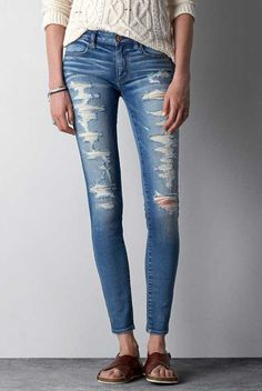 Mid-Rise Jegging Ankle in Painted Topaz Destroy. Allover destroyed details. #AEOSTYLE