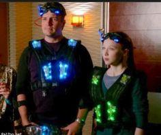 Castle ~ Nathan Fillion/Castle & Molly Quinn/Alexis...laser tag fun!