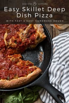 This easy Chicago style deep dish pizza is filled with cheese and sausage and uses a quick and easy homemade dough, all cooked up in a cast iron skillet! Deep Dish Pizza Dough Recipe, Cast Iron Pizza Recipe, Cast Iron Skillet Cooking, Cast Iron Recipes, Skillet Meals, Chicago Style Pizza, Cooking Recipes, Pizza Recipes, Italian Recipes