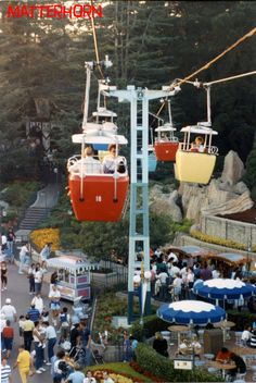A View of Fantasyland as the Skyway Gondolas Approach the Fantasyland Station in Disneyland, 1988   Stuff from the Park