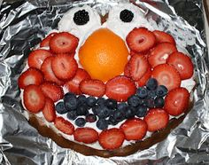 Fruity Elmo cake!  Do your kids like frosting?  It is too sweet for our daughter, so I have found some other ideas for cakes :)