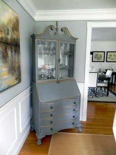 South Shore Decorating Blog: Secretary Makeover in Chalk Paint® Decorative Paint by Annie Sloan in a custom Graphite/Old White Mix with Gold Rub 'n Buff.  Beautiful!