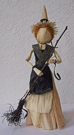 Kitchen Witch Corn Husk Doll with Broomstick by LacyLeafStudio