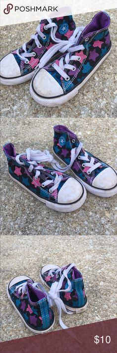 c85f267d2a9 Kids converse high top chuck Taylor Slightly worn kids high tops. Outside  has staining