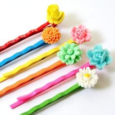 colorful bobby pins set of six