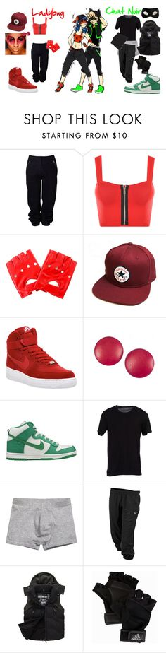 """""""Ladybug and Chat Noir's break dance outfits"""" by thelilfujoshi ❤ liked on Polyvore featuring Witchery, WearAll, Converse, NIKE, Charles Jourdan, Dolce&Gabbana, Superdry, Forever 21, adidas and Masquerade"""