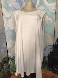 ROAMAN'S PLUS 1X NEW WHITE ROUND NECK V-BACK COTTON BLEND SLEEVELESS TUNIC TOP #Roamans #Tunic #Casual
