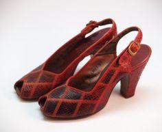 40s red snakeskin heels sling back peep toe size 6