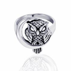 925 Oxidized Sterling Silver Detailed Midnight Owl with Crescent Moon Ring - Nickle Free Size 6