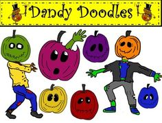 Zombie Pumpkins...my Walking Dead tribute!  15 png images (8 color and 7BW) Can put different heads on the walking sideways zombie.  Enjoy!  $