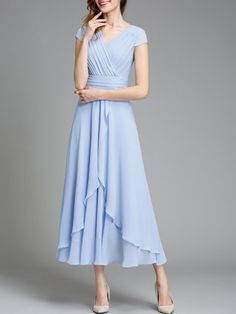 Light Blue Short Sleeve Surplice Neck Swing Chiffon Midi Dress