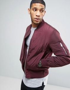 ASOS Bomber Jacket With MA1 Pocket In Burgundy Klick to see the Price #men#fashion#male#style#menfashion#menwear#menstyle#clothes #boots #man #ad