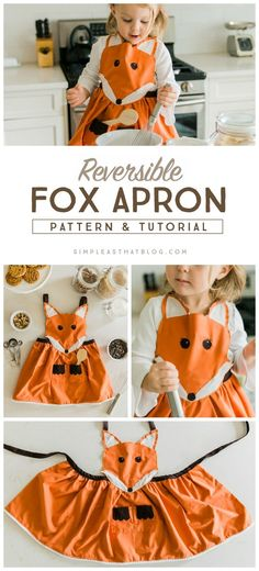 Have a little helper in the kitchen who needs their own apron? This adorable fox apron tutorial and pattern from Simple as That will do just the trick. With bright colors and fun design, any kid will be excited to wear this apron. Sewing Hacks, Sewing Tutorials, Sewing Crafts, Beginners Sewing, Sewing Diy, Sewing For Kids, Diy For Kids, Apron Tutorial, Sewing Aprons