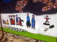 """Skateistan mural showing local life in Murade Khane, Kabul. Skateistan began as a Kabul-based Afghan NGO (Non-Governmental Organization) and is now an International non-profit charity providing skateboarding and educational programming in Afghanistan, Cambodia and Pakistan. Skateistan is non-political, independent, and inclusive of all ethnicities, religions and social backgrounds. """"Skateboarding as a tool for empowerment."""""""