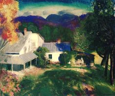 """George Bellows (George Wesley Bellows) La casa in montagna """"Mountain house"""" Abstract Landscape, Landscape Paintings, Landscapes, Rhode Island, William Glackens, Combat Boxe, Ashcan School, Mountain Paintings, Paintings I Love"""