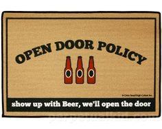 Open Door Beer Policy Doormat  $17.99