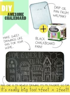 DIY chalkboard, could do double duty as a magnet board, too. by francine