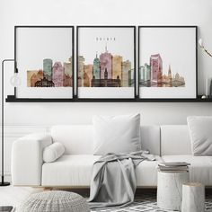 Milwaukee set of 3 prints, Milwaukee triptych, 3 piece wall art, Milwaukee skyline, watercolor large Milwaukee Skyline, Liverpool Skyline, Denver Skyline, London Skyline, World Map Art, World Map Poster, Map Posters, 3 Piece Wall Art, Wall Art Sets