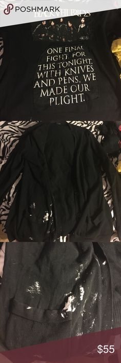 One of a kind black veil brides cardigan In pretty good condition besides the paint on the side of one of the pockets in the front. Sweaters Cardigans