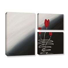 ArtWall Carmen Guedez's Tulips, 3 Piece Gallery Wrapped Flag Set