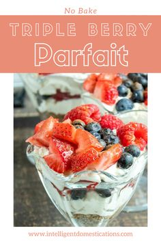 This quick and easy Triple Berry Parfait Recipe is a no bake dessert good any time of the year. The parfait is topped with Strawberries, Blueberries and Raspberries with a nutty homemade crust and a cream cheese filling layered together. Serve it for dessert, brunch or breakfast. #parfait #nobakedessert #strawberrydessert Cinnamon Cheesecake, Berry Cheesecake, Raspberries, Blueberries, Strawberries, Recipes Using Cream Cheese, Cream Cheese Filling, Breakfast Recipes, Dessert Recipes
